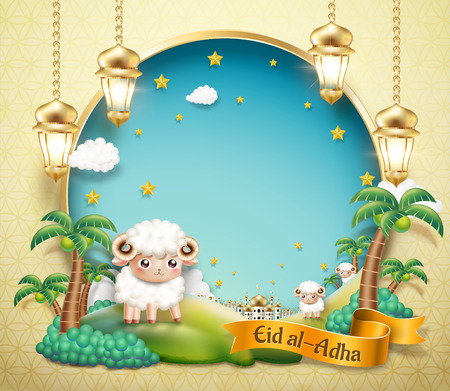 Eid Al Adha design with lovely sheep in oasis with blue sky copy space for greeting words in 3d illustration