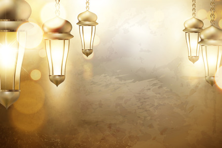 Arabic holiday design with glowing golden lanterns with copy space, 3d illustration