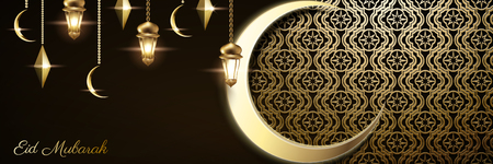 Elegant Eid Mubarak design with carved floral decoration and giant crescent on dark brown background, 3d illustration