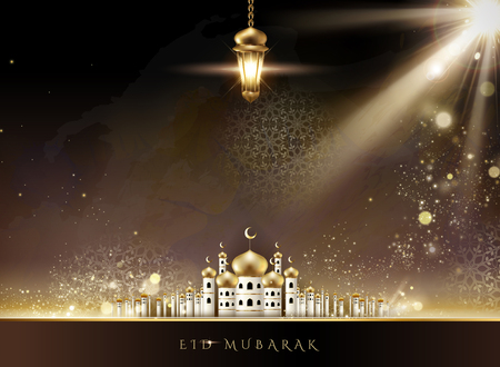Eid Mubarak design with mosque scenery and hanging fanoos in 3d illustration