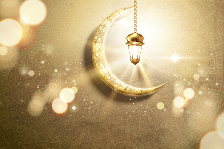 Arabic holiday design with golden crescent and glowing lantern on mandala background, 3d illustration