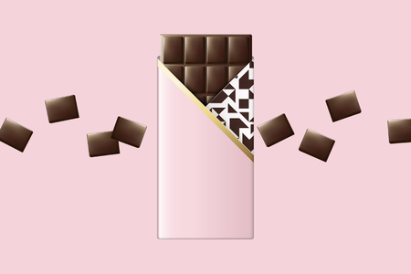 Chocolate bar with pink blank package design in 3d illustration
