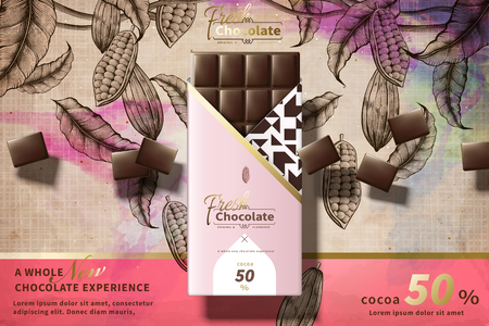 Premium chocolate ads with pink package in 3d illustration, engraved cacao plants background
