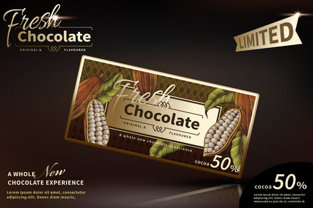 Premium chocolate ads with classic package design on brown background Illustration