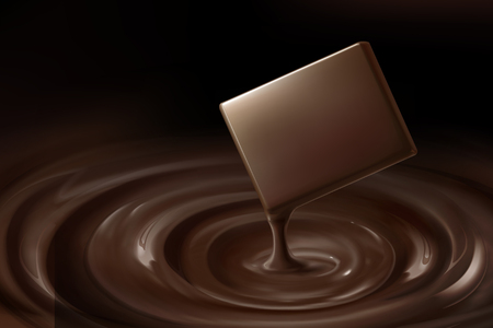 Mellow chocolate and dripping sauce in 3d illustration