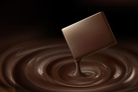 Zarte Schokolade und tropfende Sauce in 3D-Darstellung