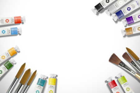 Top view of watercolor paint set in 3d illustration with copy space Ilustração