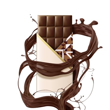 Mellow chocolate bar with swirling sauce on white background in 3d illustration