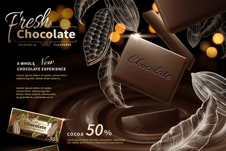 Premium chocolate ads in 3d illustration with engraved cacao plants elements on bokeh glitter background