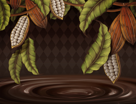 Cacao plant decorated frame on rhombus background in engraving style, 3d illustration chocolate sauce