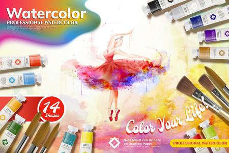 Watercolor paint set ads, elegant ballerina dancing with beautiful colors stroke, 3d illustration