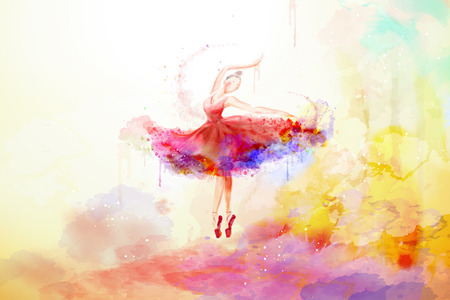 Elegant watercolor style ballerina dancing with colorful paint strokes