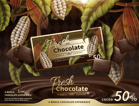 Premium chocolate ads with swirl sauce in 3d illustration, engraved cacao plants elements