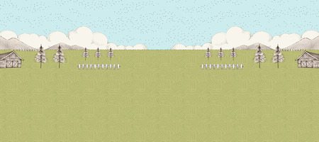 Farmland background in etching style with copy space  イラスト・ベクター素材