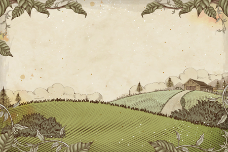 Engraving style farmland background for design uses