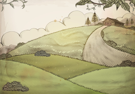 Engraving style countryside background with grassland and barn