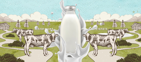 Farm fresh milk with splashing liquid in 3d illustration on engraved farmland background, blank glass bottle
