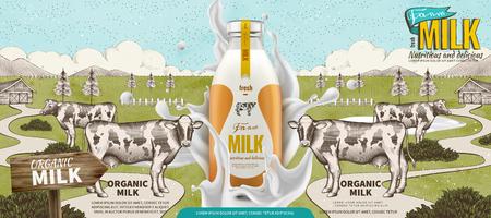 Farm fresh milk with splashing liquid in 3d illustration on engraved farmland background