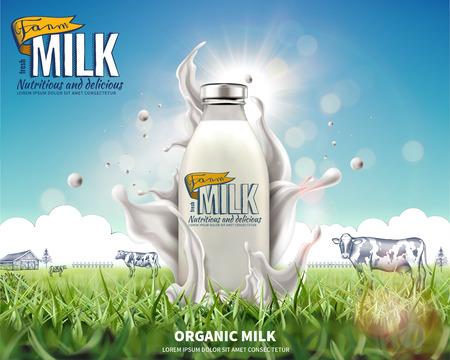 Annunci di latte biologico in bottiglia con spruzzi di liquido sui prati in illustrazione 3d Vettoriali