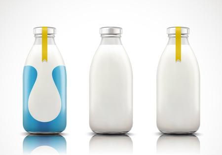 Lait laitier en bouteille en verre avec étiquette vierge en illustration 3d Vecteurs