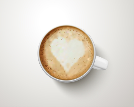 Top view of a cup of coffee with latte art in 3d illustration