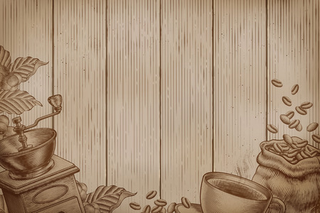 Coffee background on wood planks in engraving style