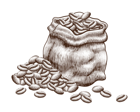 Engraved jute bag of coffee beans on white background