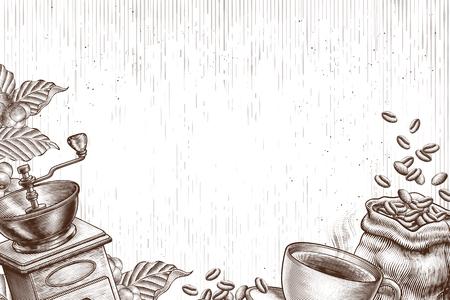 Gravierter Coffeeshop und verwandter Objekthintergrund Vektorgrafik