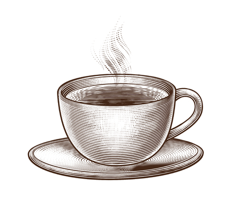 Engraved cup of coffee on white background