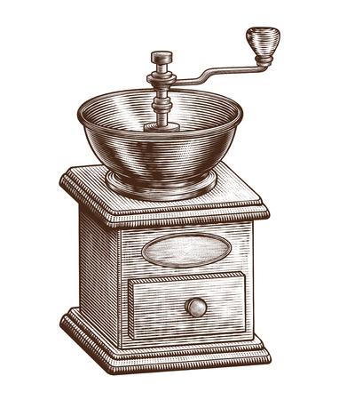 Equipo de molinillo de café grabado sobre fondo blanco.