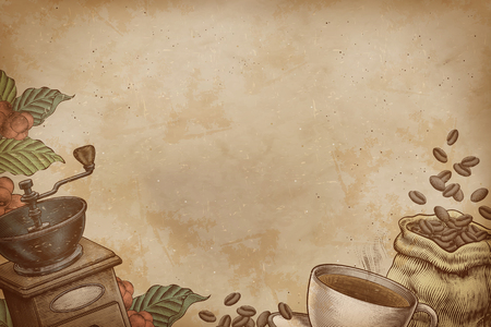 Engraved coffee shop and related objects background on kraft paper texture Ilustração