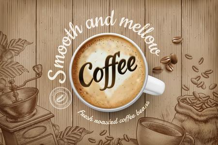 Anuncios de café con taza de ilustración 3d de vista superior y fondo retro grabado en tono marrón