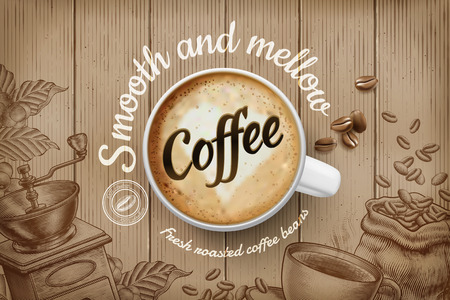 Kaffeeanzeigen mit Draufsicht 3D-Darstellung Tasse und graviertem Retro-Hintergrund in Braunton