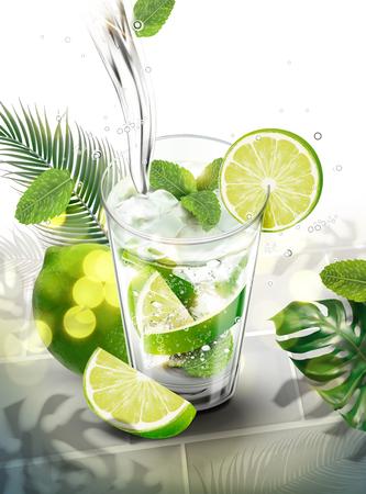 Flüssigkeit, die in Mojito mit Limette und Minzen auf tropischem Blätterhintergrund in 3D-Darstellung gießt Vektorgrafik