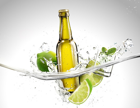 Bottle of beverage with lime and mints flowing in transparent liquid in 3d illustration Illustration