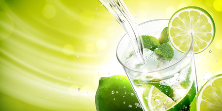 Liquid pouring into mojito with lime and mints on green background in 3d illustration 写真素材 - 111636660