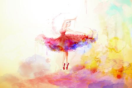 Elegante Ballerina im Aquarell-Stil, die mit bunten Pinselstrichen tanzt