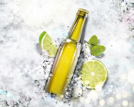 Bebida en botella de vidrio sobre fondo de hielo picado en la ilustración 3d, ángulo de visión superior