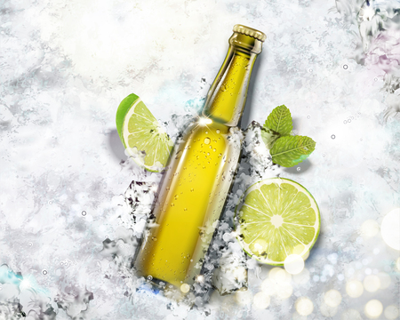 Beverage in glass bottle on crushed ice background in 3d illustration, top view angle Illustration