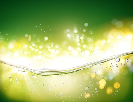 Water transparent surface with bubbles on green bokeh background in 3d illustration Illustration