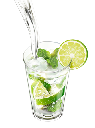 Liquid pouring into mojito with lime and mints on white background in 3d illustration Illustration