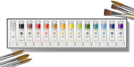 Top view of watercolor paint set in 3d illustration Illustration