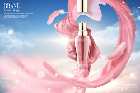 Cosmetic spray ads with flying pink satin and feather in 3d illustration, blue sky background