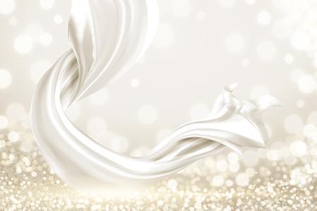 Elementi in raso liscio bianco su sfondo scintillante, illustrazione 3d