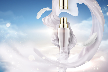 Cosmetic spray ads with flying pearl white satin and feather in 3d illustration, blue sky background