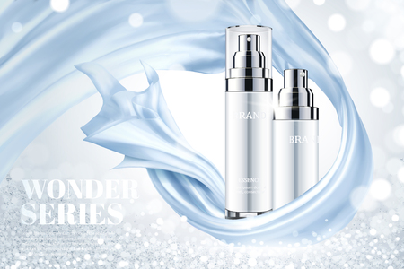 Cosmetic skincare ads with blue smooth satin elements on shimmering background, 3d illustration