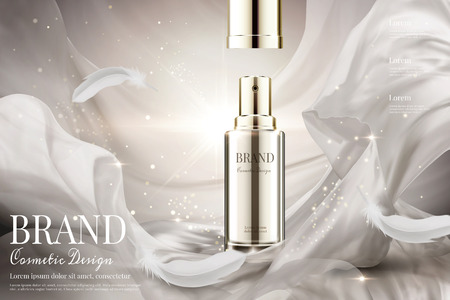 Open lid skincare spray with weaving pearl white satin and feathers in 3d illustration on shimmering background
