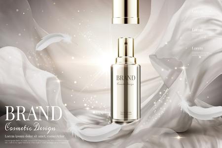 Spray per la cura della pelle a coperchio aperto con tessuto satinato bianco perla e piume in illustrazione 3d su sfondo scintillante