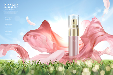 Cosmetic spray ads with flying pink chiffon in 3d illustration, product on grassland and clear blue sky background Vectores