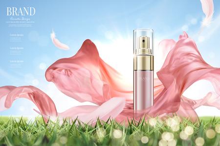 Kosmetikspray-Anzeigen mit fliegendem rosa Chiffon in 3D-Illustration, Produkt auf Grünland und klarem Hintergrund des blauen Himmels Vektorgrafik